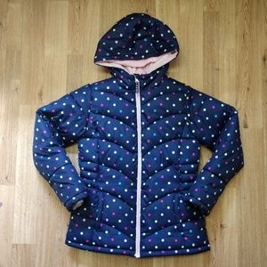 Puffer jacket size 10/12 lined with hood